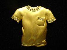 Vintage Signed J.J. Satin Finish Gold Tone Clear Rhinestone Shirt Brooch Pin