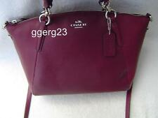 NEW AUTHENTIC COACH BURGUNDY PEBBLE LEATHER SMALL KELSEY SATCHEL #36675