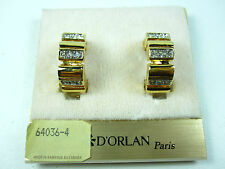 D'Orlan Gold Plated Clip-on Earrings with Swarovski Crystals