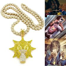 "ICED OUT GOLD PLATED CHIEF KEEF GLO GANG PENDANT W/ 36"" SUNFLOWER CLUSTER CHAIN"