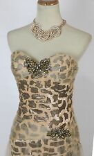 NWT Jovani High Low $460 Cream Long Sequin Size 4 Prom Formal Evening Gown Dress