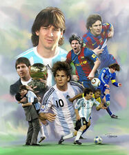Lionel Messi : giclee print on canvas poster painting no autograph B-0576