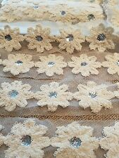 beautiful crean flowered lace with sequin design bud ideal for crafts