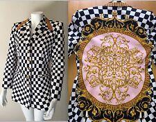 Vtg 80s 90s ESCADA Checkered MANDALA Baroque Blazer Jacket Versace-esque Floral