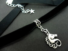 A LADIES GIRLS 10MM BLACK VELVET & UNICORN CHARM CHOKER NECKLACE . NEW.