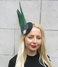Grün Schwarz Fasan Statement Kopfschmuck Ascot Kopfbedeckung Klemme Rennen