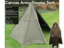 East European army surplus ponch 2 man tent with poles / pegs teepee