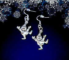 BUY 3 GET 1 FREE~SILVER DANCING SNOWMAN WINTER DANGLE EARRINGS~CHRISTMAS GIFT