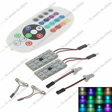 1 Pair T10 Festoon RGB 16 Colors Changing LED Car Interior Light +Remote Control