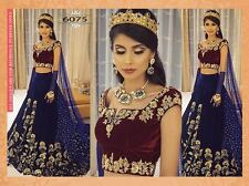 DESIGNER BRIDAL BLUE AND MAROON VELVET PARTY WEAR UNSTITCHED LEHENGA CHOLI