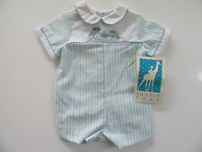 NWT Baby Boy's Romper 6 months VTG Made in USA Photo Boutique Sunsuit Bear Train