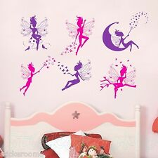 FAIRIES CARTOON FLOWER CHILDREN'S ROOM WALL STICKERS VINYL DECAL HOME DECORATION