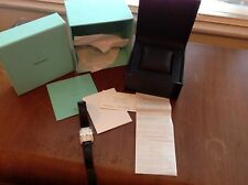 Mens Tiffany Quartz Stainless Steel Watch Box, Paperwork, and Reciept.