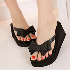 Women Platform Mid Heel Flip Flops Thong Sandals Flower Bowknot Slippers Shoes