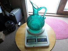 Blenko Glass Turquoise bluish Pitcher APPLIED Handle ribbed beautiful 8 inch tl