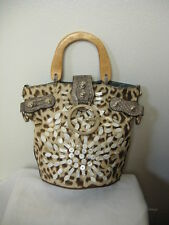 Guess Handbag Jeans Shell Blue Beige Leopard Print With Silver Logo Used RARE!!!