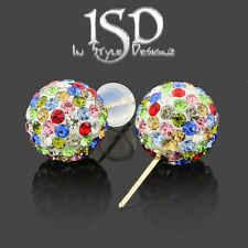 14k Yellow Gold 10mm Swarovski Elements Multi Color Crystal Ball Studs Earrings