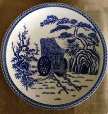 "Antique Blue And White Porcelain Pottery Charger Plate 12.5"" Made in Japan"