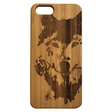 Wolf Rose Case for iPhone 7 Plus Bamboo Wood Cover Dog Spirit Native Husky Dog