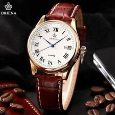 ORKINA Luxury Roman Dial White Rose Gold Date Mens Coffee Leather Wrist Watch
