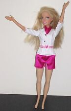 Barbie Mattel Doll 2006 Dressed in Pink & White Jumpsuit Long Blond Layered Hair