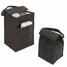 "LUNCH BAG BOX Recycled Insulated Black Bag 10"" with Pocket Cans Reusable Egobags"
