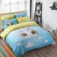 Decor New Child Queen Size Bed Set Pillowcase Quilt Duvet Cover Blue Cute Cat