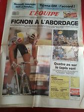 journal  l'équipe 06/07/89 CYCLISME TOUR DE FRANCE 1989  FIGNON  TENNIS MC ENROE