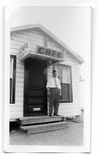 Man at Cafe with Kool Cigarettes Porcelain Sign Photo 1940s