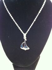 "NEW Beautiful Sailboat Abalone Shell Pendant on 18"" Silver Chain Necklace"