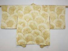 Giapponese VINTAGE GIALLO OCRA/AVORIO SETA SHIBORI seigaha Kimono Giacca Medium