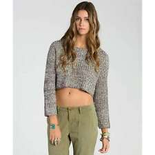 2015 NWT WOMENS BILLABONG ME AND YOU SWEATER $55 M oatmeal heather cropped
