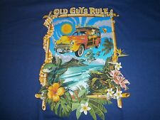"OLD GUYS RULE ""WOODIE EXPRESS"" WOODY SURF SURFBOARD LONGBOARD FIN S/S T-SHIRT XL"