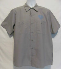 Warner Brothers SUPERMAN Graphic Button Front Gray S/S Shirt Mens L Large Mechan