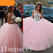 New Beaded Quinceanera Dress Ball Gown Pink Prom Party Formal Pageant Dresses