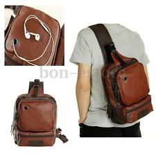 Men PU Leather Shoulder Chest Bag Backpack Crossbody Sling Bag Riding Outdoor
