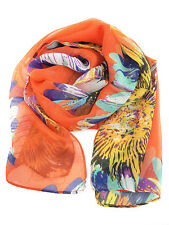 Foulard Femme en mousseline Orange imprimé fleurs - Orange Mulsin Scarf flowers