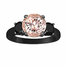 Pink Peach Morganite Three-Stone Engagement Ring 14k Black Gold Vintage Style