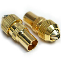 2 x Male Gold TV Aerial Connectors - RF Cable Coax Plug Coaxial - Freeview