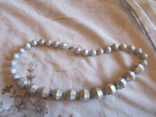 "Silver Faceted Plastic Graduated Bead Necklace - 18"" long"