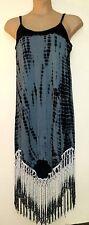 ASOS GREY BLACK TIE DIE PRINT STRETCHY JERSEY & LUREX FRINGE FESTIVAL DRESS XL