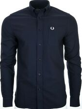 Mens Fred Perry L long sleeved Classic Oxford Shirt Navy Blue RRP £70