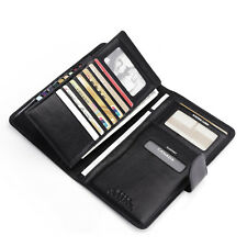 Men Real Leather Cente Wallet Large Capacity Checkbook Passport Ticket Holder
