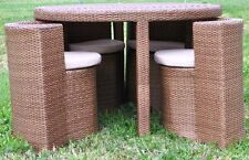 Round rattan hideaway table and 4 chairs (glass top)