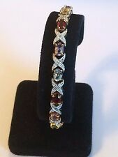 Signed DBJ 925 Sterling Silver Bracelet With Multi-Color Stones