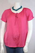 St. John's Bay Misses XL Bright Pink Split Tie Neck SS Blouse Tunic Shirt Top