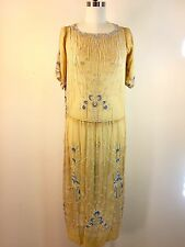 Vintage 1920s Beaded Flapper Gatsby Dress Yellow 36 Bust Downton Abbey