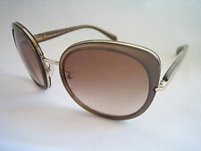 PRADA SUNGLASSES BROWN GOLD SPR 52O ZVN 0A6 CAT EYE BNWT AUTHENTIC