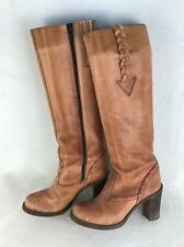 Vintage 70s Thom McAn Tan Leather Boots Stacked Heel Boho Hippie 6.5 Brazil