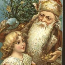 1908.. FATHER CHRISTMAS,BROWN ROBE FILLS GIRL'S APRON WITH NUTS,SANTA POSTCARD